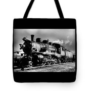 Black And White Of An Old Steam Engine  Tote Bag