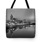 Black And White Of Nashville Tennessee Skyline Sunrise  Tote Bag