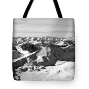 Black And White Of The Summit Of Mount Elbert Colorado In Winter Tote Bag