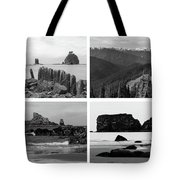 Black And White Olympic National Park Collage Tote Bag