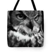 Black And White Owl Painting Tote Bag