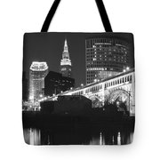 Black And White Panorama Of Cleveland Tote Bag