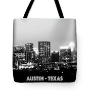 Black And White Panoramic View Of Downtown Austin Tote Bag
