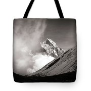 Black And White Photo Of Snow Peak In Nepal Tote Bag