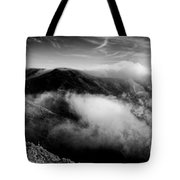 Black And White Photograph Of Fog Rising In The Marin Headlands - Sausalito Marin County California Tote Bag