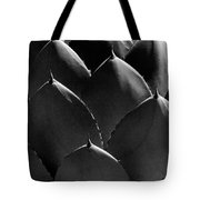 Black And White Photographic Detail Of California Cabbage Cactus Agave Tote Bag
