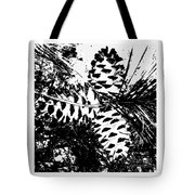 Black And White Pine Cone Tote Bag