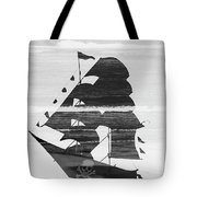 Black And White Pirate Ship Against The Sea And Crushing Waves. Double Exposure Tote Bag