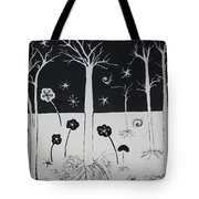 Black And White Poppies Tote Bag