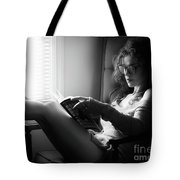 Black And White Portrait Of A Sexy Woman In Large Reading Glasse Tote Bag