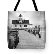 Black And White  Roanoke Lighthouse Tote Bag