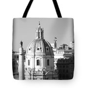 Black And White Rooftop In Rome Tote Bag