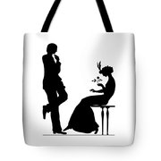 Black And White Silhouette Of A Man Giving A Woman A Flower Tote Bag