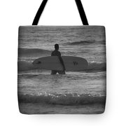 Black And White Surfer Tote Bag
