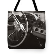 Black And White Thunderbird Steering Wheel And Dash Tote Bag