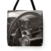 Black And White Thunderbird Steering Wheel  Tote Bag