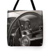 Black And White Thunderbird Steering Wheel  Tote Bag