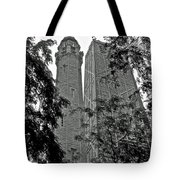 black and white Water Tower Tote Bag