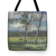 Black Angus Strolling Through The Pasture Tote Bag