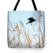 Black Bird In Cat Tails Tote Bag