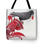Black Bird Red Silicate Glass Flowers Gray Background 2 8282017  Tote Bag