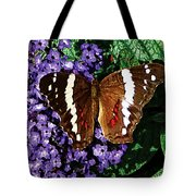 Black Butterfly On Heliotrope Tote Bag
