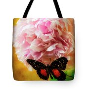 Black Butterfly On Peony Tote Bag