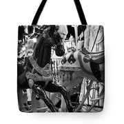 Black Carousel Horse Tote Bag
