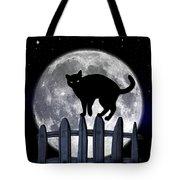 Black Cat And Full Moon 3 Tote Bag