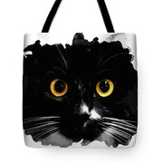 Black Cat, Yellow Eyes Tote Bag