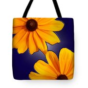Black-eyed Susans On Blue Tote Bag