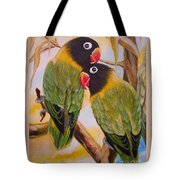 Black Faced Love Birds.  Chloe The Flying Lamb Productions  Tote Bag