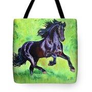 Black Friesian Horse Tote Bag