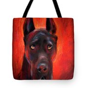 Black Great Dane Dog Painting Tote Bag