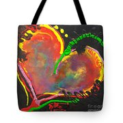 Abstract Multi Colored Heart Tote Bag