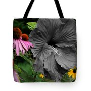Black Hibiscus Tote Bag