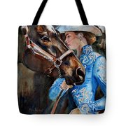 Black Horse And Cowgirl   Tote Bag