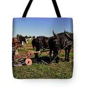 Black Horses With Sulky Plow Two  Tote Bag