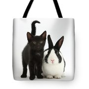Black Kitten And Dutch Rabbit Tote Bag