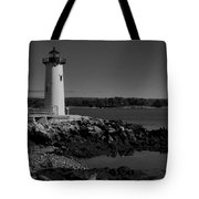 Black N White-portsmouth Harbor Lighthouse Tote Bag