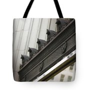 Black Ornate Trim On Marble White Building Tote Bag