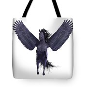 Black Pegasus On White Tote Bag