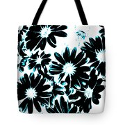 Black Petals With Sprinkles Of Teal Turquoise Tote Bag