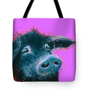 Black Pig Painting On Purple Tote Bag