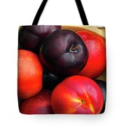 Black Plums And Nectarines In A Wooden Bowl Tote Bag