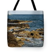 Black Rock Point And Sailboat Tote Bag