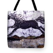 Black Stallion Gallops Over Stones Tote Bag