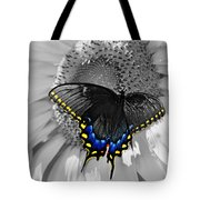 Black Swallowtail And Sunflower Color Splash Tote Bag