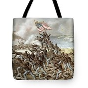 Black Troops Of The Fifty Fourth Massachusetts Regiment During The Assault Of Fort Wagner Tote Bag
