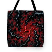 Black Veins Red Blood Abstract Fractal Art Tote Bag